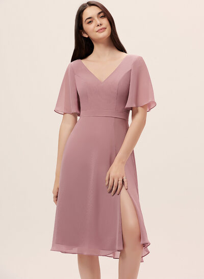A-Line V-neck Knee-Length Chiffon Bridesmaid Dress With Split Front