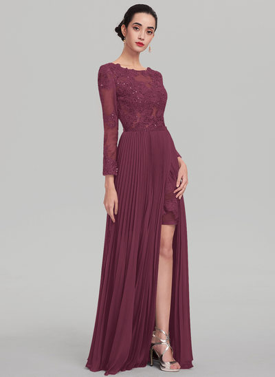A-Line/Princess Scoop Neck Floor-Length Chiffon Evening Dress With Beading Sequins