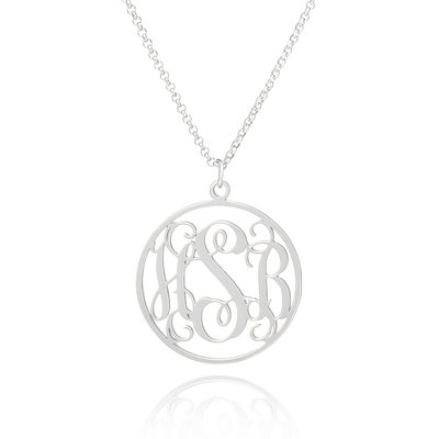 Christmas Gifts For Her - Custom Sterling Silver Three Monogram Necklace Circle Necklace