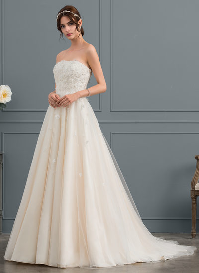 Ball-Gown Strapless Court Train Tulle Wedding Dress With Beading Appliques Lace Flower(s) Sequins