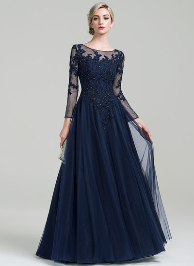 A-Line/Princess Scoop Neck Floor-Length Tulle Evening Dress With Beading Sequins