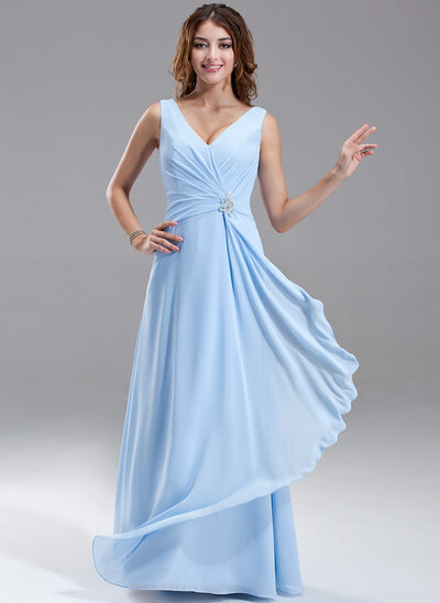 Chiffon V-neck Floor-length A-Line Bridesmaid Dress With Crystal Brooch And Cascading Ruffles