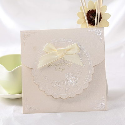Classic Style Top Fold Invitation Cards With Ribbons (Set of 50)