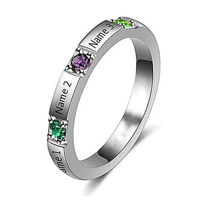 Personalized Simple S925 Sliver Oval Cubic Zirconia/Birthstone Rings For Bride/For Friends/For Couple