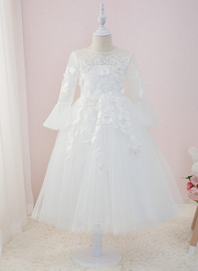 Ball-Gown/Princess Ankle-length Flower Girl Dress - Tulle/Lace Long Sleeves Scoop Neck With Beading/Flower(s)