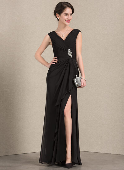 A-Line V-neck Floor-Length Chiffon Mother of the Bride Dress With Beading Split Front Cascading Ruffles