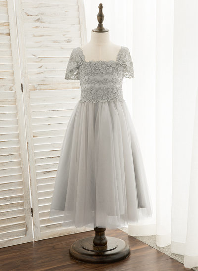 A-Line Tea-length Flower Girl Dress - Tulle/Lace Sleeveless Square Neckline
