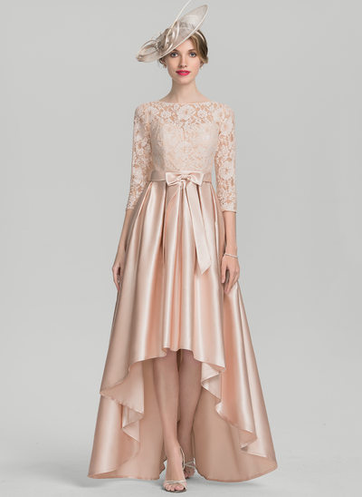 A-Line/Princess Scoop Neck Asymmetrical Satin Lace Mother of the Bride Dress With Bow(s)
