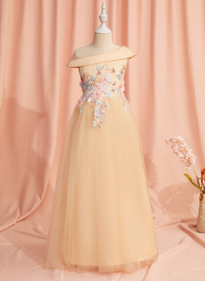 A-Line Floor-length Flower Girl Dress - Satin/Tulle Sleeveless Scoop Neck With Lace/Beading/Flower(s)/Bow(s)