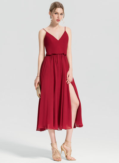 A-Line/Princess V-neck Tea-Length Chiffon Cocktail Dress With Split Front