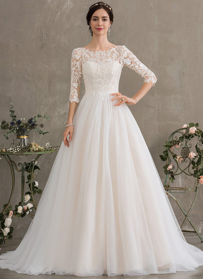 fe2f49f8cb Ball-Gown Princess Scoop Neck Court Train Tulle Wedding Dress With Sequins  New