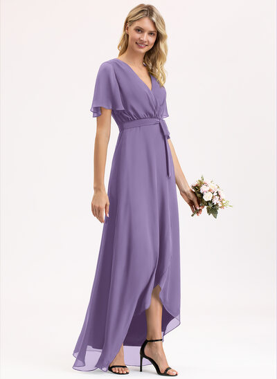 A-Line V-neck Asymmetrical Chiffon Cocktail Dress With Bow(s)