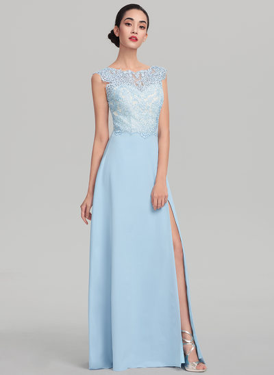 A-Line/Princess Scoop Neck Sweep Train Satin Prom Dress With Split Front
