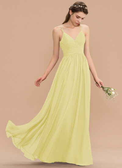 A-Line V-neck Floor-Length Chiffon Lace Bridesmaid Dress With Ruffle Beading Sequins