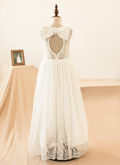 A-Line/Princess Floor-length Flower Girl Dress - Lace Sleeveless Scoop Neck With Lace/Bow(s)/Back Hole