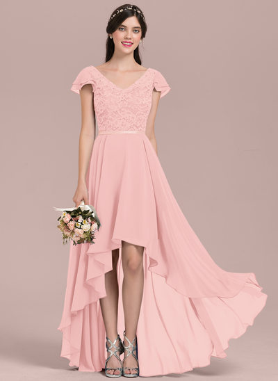A-Line/Princess V-neck Asymmetrical Chiffon Lace Bridesmaid Dress With Beading Sequins