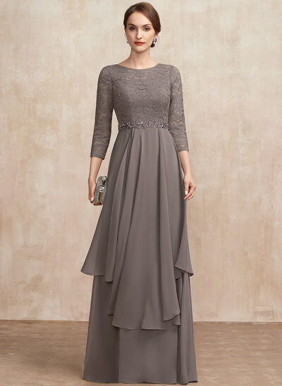A-Line Scoop Neck Floor-Length Chiffon Lace Mother of the Bride Dress With Beading