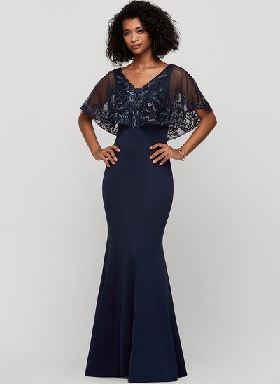 Trumpet/Mermaid Scoop Neck Floor-Length Jersey Evening Dress