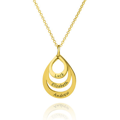 [Free Shipping]Custom 18k Gold Plated Silver Circle Three Engraved Necklace Family Necklaces With Kids Names (288215499)-Christmas Gifts