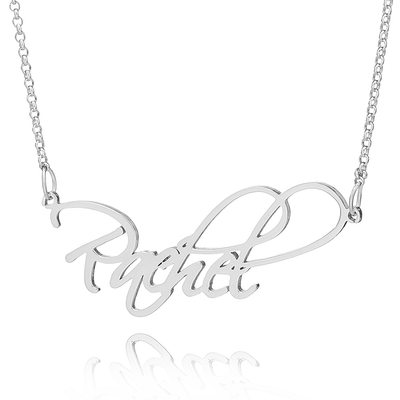 Custom Sterling Silver Vintage Name Necklace - Valentines Gifts
