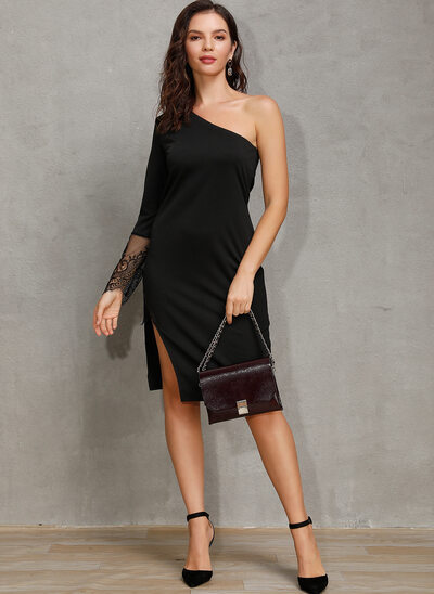Sheath/Column One Shoulder Knee-Length Cocktail Dress