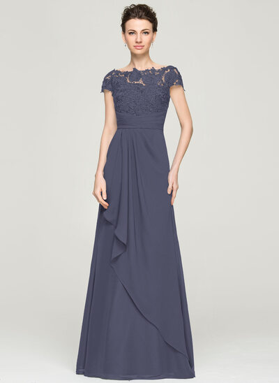 A-Line Off-the-Shoulder Floor-Length Chiffon Lace Mother of the Bride Dress With Cascading Ruffles