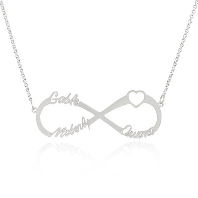 Custom Sterling Silver Infinity Three Name Necklace With Heart