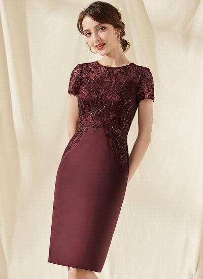 Sheath/Column Scoop Neck Knee-Length Satin Lace Cocktail Dress With Sequins