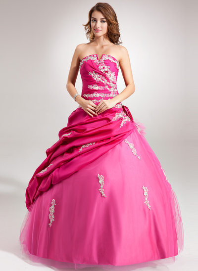 Ball-Gown Scalloped Neck Floor-Length Taffeta Tulle Quinceanera Dress With Ruffle Beading Appliques Lace Flower(s) Sequins