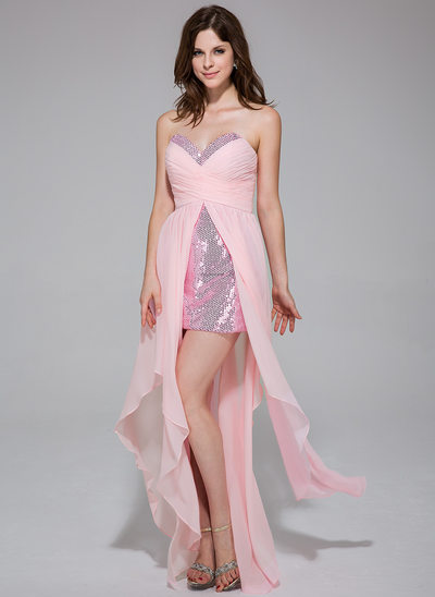 A-Line/Princess Sweetheart Asymmetrical Chiffon Sequined Holiday Dress With Ruffle