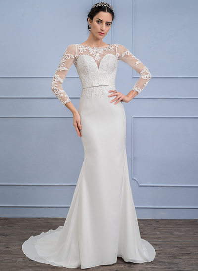 Trumpet/Mermaid Illusion Sweep Train Chiffon Wedding Dress With Bow(s)