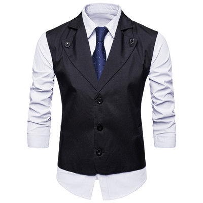 Solid Color Polyester Viskose Mænds Vest