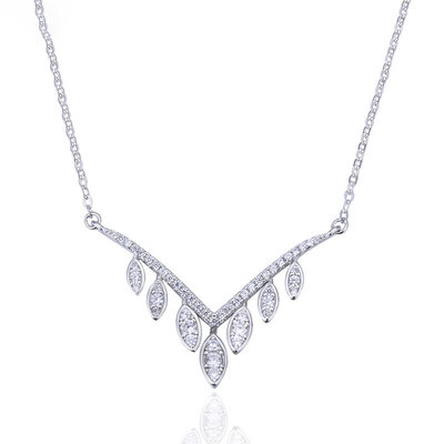 Ladies' Beautiful 925 Sterling Silver With Cubic Cubic Zirconia Necklaces For Bridesmaid/For Friends