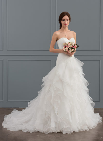Trumpet/Mermaid Sweetheart Court Train Organza Wedding Dress With Cascading Ruffles