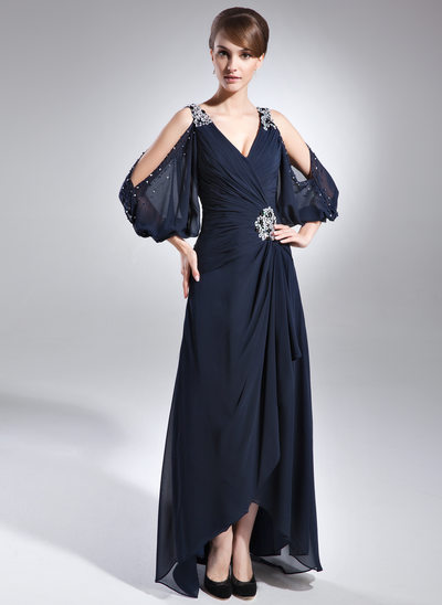 A-Line/Princess V-neck Asymmetrical Chiffon Mother of the Bride Dress With Beading Cascading Ruffles
