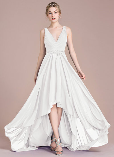 A-Line V-neck Asymmetrical Chiffon Prom Dresses With Ruffle Beading Sequins
