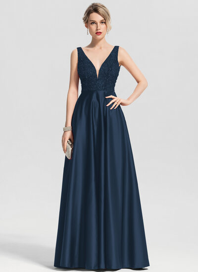 A-Line/Princess V-neck Floor-Length Satin Prom Dresses With Beading Sequins