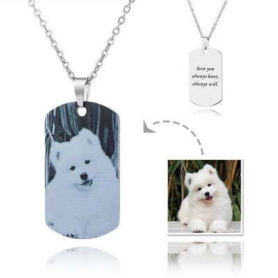 Custom Tag Black And White Photo Necklace - Mother's Day Gifts