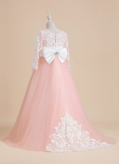 Ball-Gown/Princess Sweep Train Flower Girl Dress - Tulle/Lace Long Sleeves Scoop Neck With Beading/Bow(s)