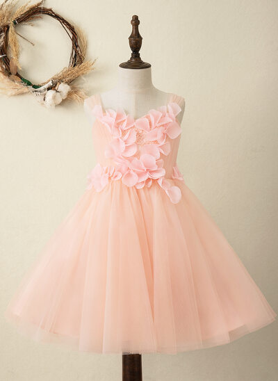 A-Line Knee-length Flower Girl Dress - Chiffon/Tulle/Lace Sleeveless Square Neckline With Appliques