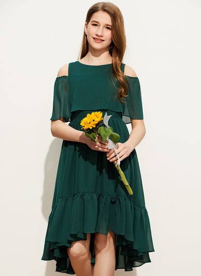 A-Line Scoop Neck Asymmetrical Chiffon Junior Bridesmaid Dress With Cascading Ruffles