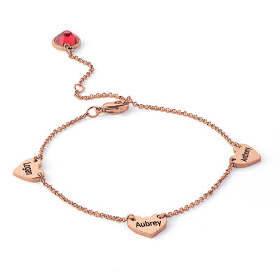 Christmas Gifts For Her - Custom 18K Rose Gold Plated Sterling Silver Delicate Chain Name Bracelets With Heart