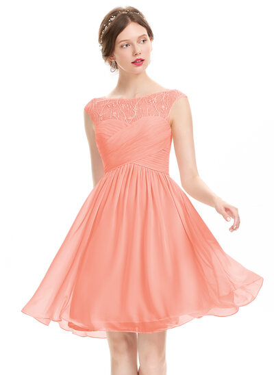 A-Line Scoop Neck Knee-Length Chiffon Prom Dresses With Ruffle Lace Beading Sequins