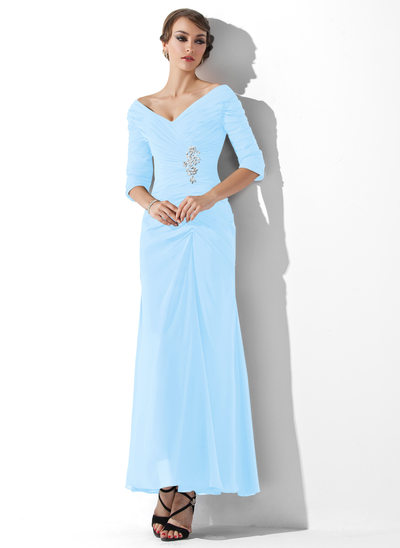 A-Line/Princess Off-the-Shoulder Ankle-Length Chiffon Prom Dresses With Ruffle Beading