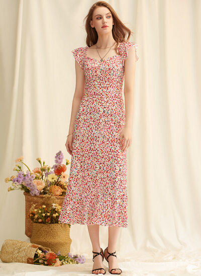 A-Line Square Neckline Tea-Length Chiffon Evening Dress