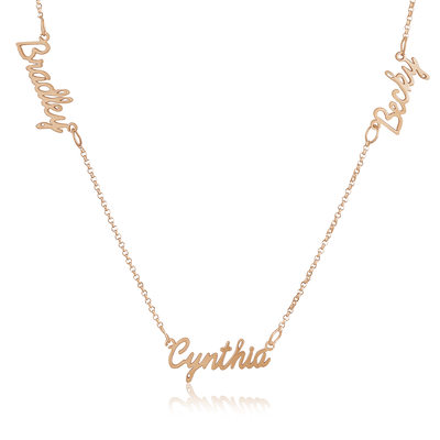 Custom 18k Rose Gold Plated Silver Three Name Necklace With Kids Names - Birthday Gifts Mother's Day Gifts