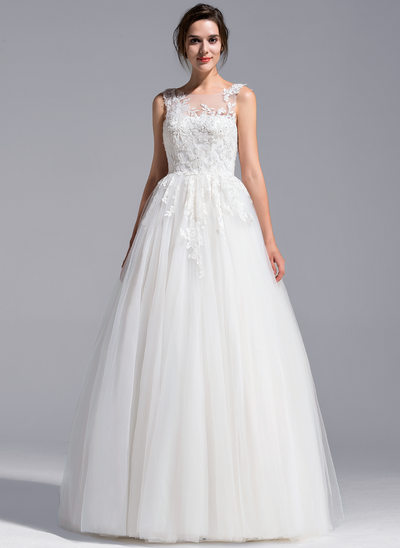 A-Line/Princess Scoop Neck Floor-Length Tulle Wedding Dress With Beading Appliques Lace Sequins