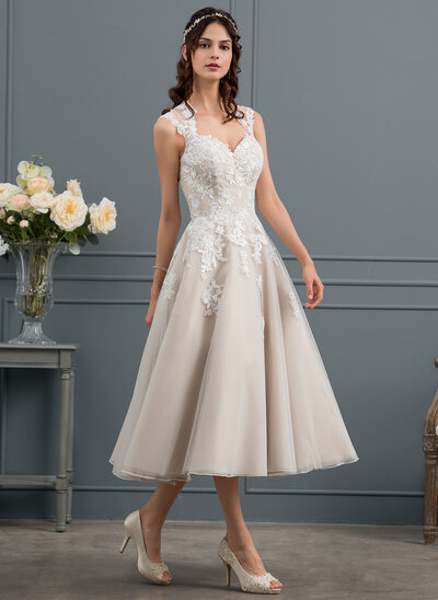 Ball-Gown Sweetheart Tea-Length Tulle Wedding Dress With Sequins
