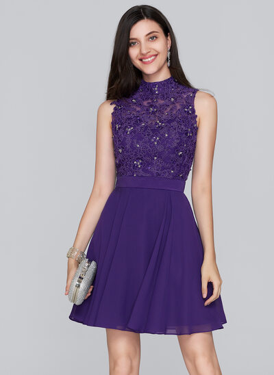 A-Linie/Princess-Linie High Neck Kurz/Mini Chiffon Ballkleid mit Perlstickerei Pailletten