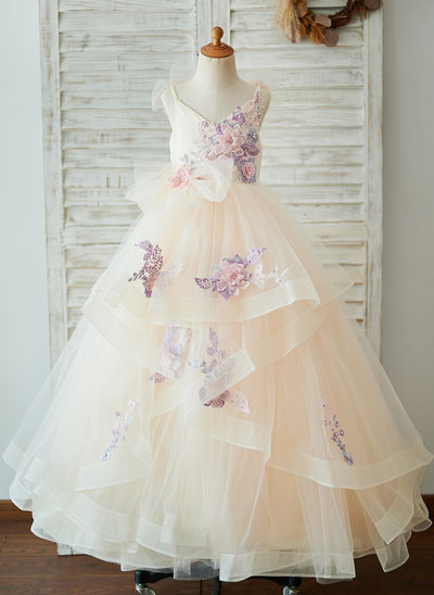 Ball-Gown/Princess Floor-length Flower Girl Dress - Tulle Sleeveless Straps With Flower(s)